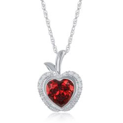 Enchanted Disney Fine Jewelry Snow White's Created Ruby and Diamond Apple Pendant 1/10ctw