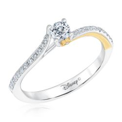 Enchanted Disney Fine Jewelry Two-Tone Tinkerbell Engagement Ring 1/3ctw