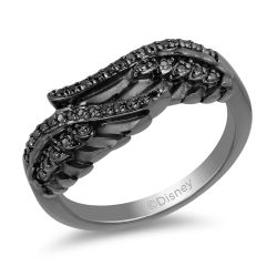 Enchanted Disney Fine Jewelry Villains Maleficent Black Diamond Wing Ring 1/6ctw - Size 7