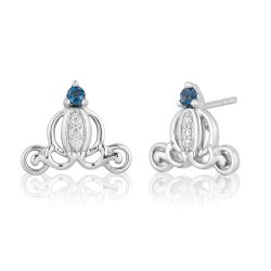 Enchanted Disney Vault Cinderella Diamond and London Blue Topaz Carriage Stud Earrings 1/20ctw
