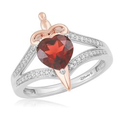 Enchanted Disney Vault Snow White Diamond and Garnet Heart and Dagger Ring 1/10ctw - Size 7