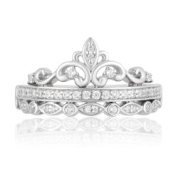 Enchanted Disney Vault Sterling Silver Diamond Princess Ring 1/4ctw - Size 7