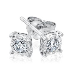 Endless Sparkle Sterling Silver Round Diamond Stud Earrings 1/10ctw
