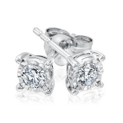 Endless Sparkle Sterling Silver Round Diamond Solitaire Earrings 1/3ctw