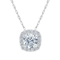Exclusive REEDS ECONIC Lab Grown Diamond Cushion Halo Pendant Necklace 1/2ctw