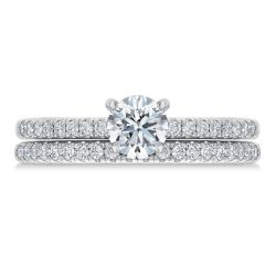 Exclusive REEDS ECONIC Lab Grown Round Diamond Engagement and Wedding Ring Bridal Set 1ctw with IGI Grading Report