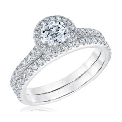 Exclusive REEDS ECONIC Lab Grown Round Diamond Halo Engagement and Wedding Ring Bridal Set 1 1/4ctw with IGI Grading Report