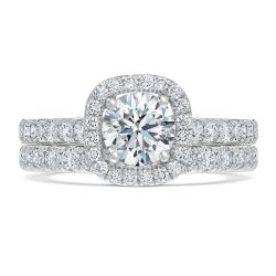 Exclusive REEDS ECONIC Lab Grown Diamond Halo Engagement and Wedding Ring Bridal Set 2ctw with IGI Grading Report