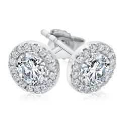 Exclusive REEDS ECONIC Lab Grown Round Diamond Halo Stud Earrings 1ctw