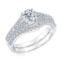 Exclusive REEDS ECONIC Lab Grown Round Diamond Engagement and Wedding Ring Bridal Set 1 1/4ctw with IGI Grading Report