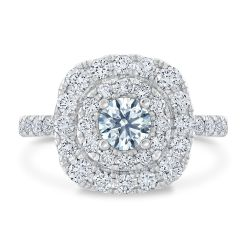 Ideal Hearts & Arrows Diamond Double Halo Engagement Ring 1 1/2ctw