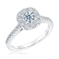 Ideal Hearts & Arrows Diamond Halo Engagement Ring 1 1/4ctw