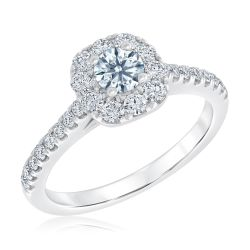 Ideal Hearts & Arrows Diamond Halo Engagement Ring 1ctw