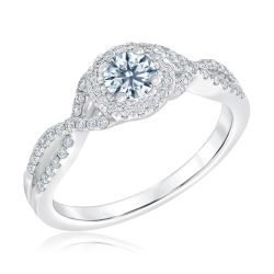 Ideal Hearts & Arrows Diamond Twist Engagement Ring 5/8ctw