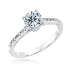 Ideal Hearts & Arrows Diamond White Gold Engagement Ring 1 1/6ctw