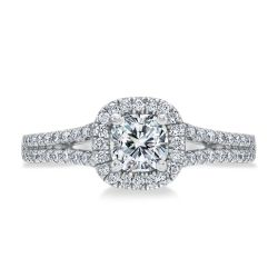 Exclusive REEDS Signature Cushion Diamond Halo Engagement Ring 7/8ctw