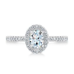 Exclusive REEDS Signature Oval Diamond Halo Engagement Ring 3/4ctw