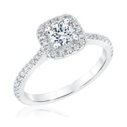 Exclusive REEDS Signature Diamond Cushion Halo Engagement Ring 7/8ctw