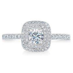 Exclusive REEDS Signature Round Diamond Double Halo Engagement Ring 5/8ctw