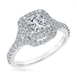 Exclusive REEDS Signature Square Diamond Double Halo Engagement Ring 1 3/8ctw