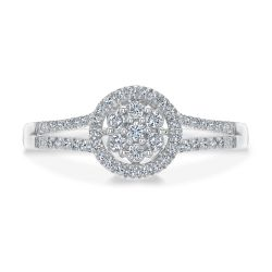 Flower Setting Diamond Cluster Halo Ring 1/4ctw