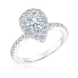 Forevermark Center of My Universe Pear Diamond Halo Engagement Ring 1 3/8ctw