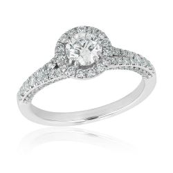 Forevermark Center of My Universe Round Diamond Halo Engagement Ring 1ctw