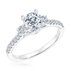 Forevermark Diamond Semi-Mount Three-Stone Engagement Ring 1/3ctw
