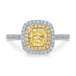 Forevermark Light Yellow Diamond Double Halo Engagement Ring 1 1/2ctw