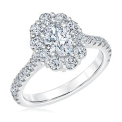 Forevermark Oval Diamond Halo White Gold Engagement Ring 1 1/2ctw
