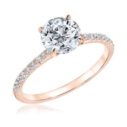 Forevermark Round Diamond Rose Gold Engagement Ring 1 1/5ctw