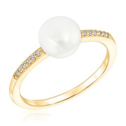 Fresh Water Cultured Pearl and Diamond Ring 1/20ctw