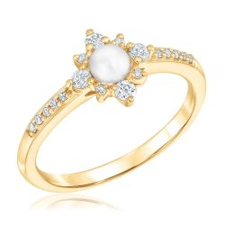 Fresh Water Cultured Pearl and Diamond Sunburst Ring 1/5ctw