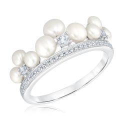 Freshwater Cultured Pearl and Created White Sapphire Crown Ring