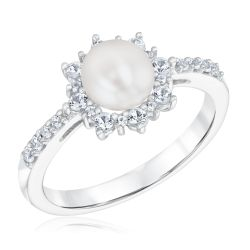 Freshwater Cultured Pearl and Created White Sapphire Ring