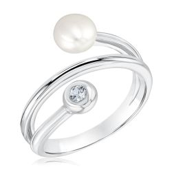 Freshwater Cultured Pearl and Created White Sapphire Wrap Ring