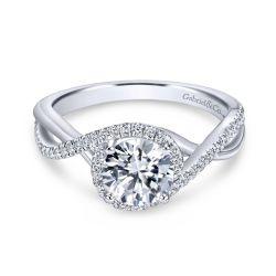 Gabriel & Co. Courtney Diamond Round Semi-Mount Twisted Engagement Ring 1/4ctw