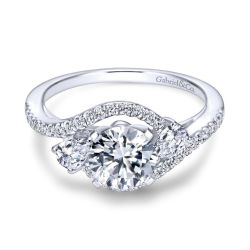 Gabriel & Co. Demi Diamond Three Stone Semi-Mount Bypass Engagement Ring 1/2ctw