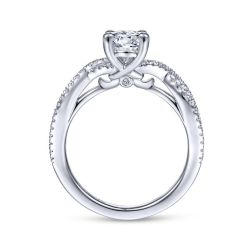 Gabriel & Co. Gina Diamond Oval Semi-Mount Twisted Engagement Ring 1/5ctw