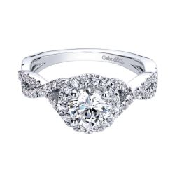 Gabriel & Co. Marissa Diamond Round Halo Semi-Mount Engagement Ring 1/3ctw