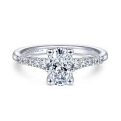 Gabriel & Co. Reed Diamond Oval Semi-Mount Engagement Ring 1/4ctw