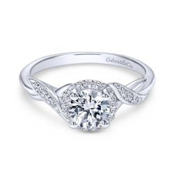 Gabriel & Co. Shae Diamond Milgrain Halo Semi-Mount Engagement Ring 1/8ctw