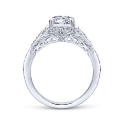 Gabriel & Co. Windsor Diamond Milgrain Round Semi-Mount Engagement Ring 1/4ctw