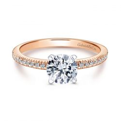 Gabriel & Co. Rose Gold Diamond Round Semi-Mount Engagement Ring 1/6ctw