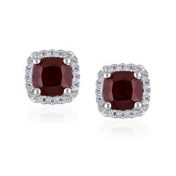 Garnet Diamond Halo White Gold Earrings 1/10ctw