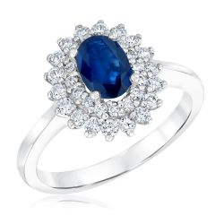 Oval Sapphire and Diamond Ring 1/2ctw