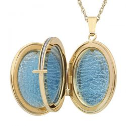 Gold-Filled Engraved Oval Four-Picture Locket