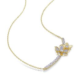 Gold-Plated White Sapphire and Diamond Flower Bar Necklace 1/6ctw