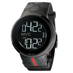 Gucci Digital Analogue Display I-Gucci Black PVD  Rubber Strap Watch - 44mm YA114207