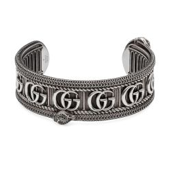 Gucci Double G Snake Aged Sterling Silver Cuff Bracelet